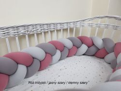 3-bands braided crib bumper 120cm