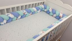 Braided crib bumper with pattern 200 cm